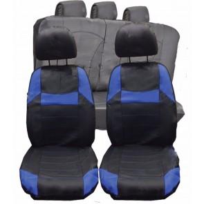 Suzuki Swift Twin UNIVERSAL BLACK & Blue PVC Leather Look Car Seat Covers Set