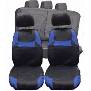 Ford Fiesta Focus KA UNIVERSAL BLACK & Blue PVC Leather Look Car Seat Covers Set
