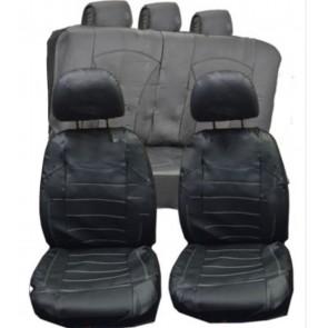 UNIVERSAL BLACK PVC Faux Leather Look Car Seat Covers Split Rears fits Citroen