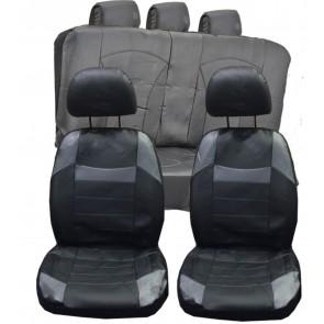 Audi 100 90 A6 Q5 UNIVERSAL BLACK & Grey PVC Leather Look Car Seat Covers Set