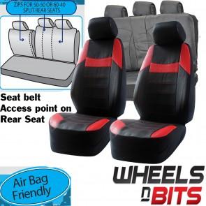 Vauxhall Corsa Mokka UNIVERSAL BLACK & Red PVC Leather Look Car Seat Covers Set