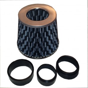 Universal Fit Fitting Carbon Mesh Look Air Filter Induction Kit & Adapter Rings