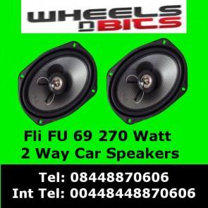 """FLI FU 69 270Watt 2Way 6""""x9"""" Inch Car Speaker rear Deck/Shelf Undergroud Range"""