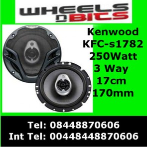 Kenwood KFC-S1782 250Watt 17cm 170mm 3 Way Car Door/Shelf Speakers