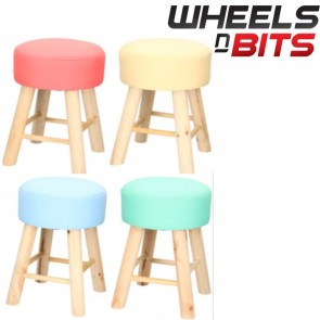 4x Shabby Chic Foot Stool Seat Chair Natural Wood Legs Mixed Colours B/P/G/Y