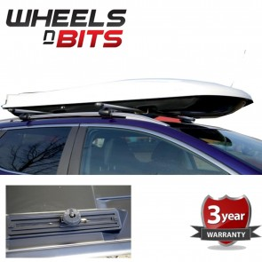 NEW Large 440 Litre Gloss White Roof box 3 point lock Includes Fitting Kit