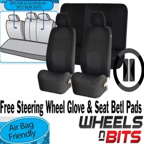 Full set Black Mesh Cloth Car Seat Cover Steering Glove fit Fiat 500 Punto Uno