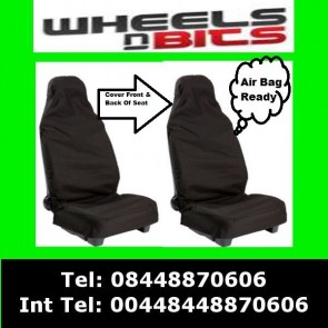 Car Seat Cover Waterproof Nylon Front 2 Protector Black fits Citroen C1 C2 C3