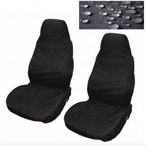 Car Seat Covers Waterproof Nylon Front 2 Protectors Black fits Seat Toledo Exeo