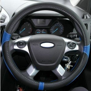 Steering Wheel Glove Cover Leather Faux Soft Grip Warm Blue & Black fits BMW