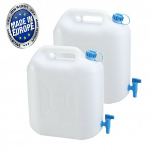 Wheels N Bits 2x 12 Litre Drinking Water Jerry Can With Tap Food Safe Material Camping Caravan