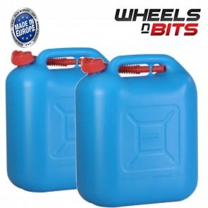 Wheels N Bits 2x 20 Litre Blue Plastic Jerry Can Eu E10 Fuel Petrol Diesel 2 Stroke Ethanol