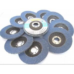 Toolzone Flap Disc 115mm 36 Grit Zirconium Pack of 10 Grinding Rust Removal Sanding