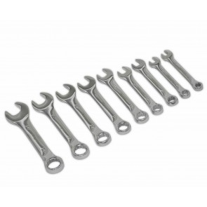 Wheels N Bits New 9pc Stubby Combination Spanner Set Metric 6 to 14mm CRV Steel Wrench