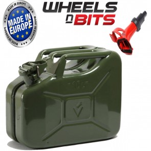 NEW 10 L GREEN JERRY MILITARY CAN FUEL OIL PETROL DIESEL STORAGE TANK WITH SPOUT