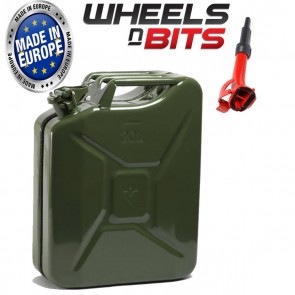 20L Litre GREEN JERRY MILITARY CAN FUEL PETROL DIESEL RED BLUE GREEN WITH SPOUT