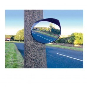 "17"" Inch 45CM Traffic Shop Wide Angle Security Curved Convex Road Mirror Black"