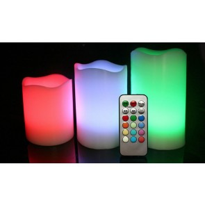 3pc REMOTE CONTROL 12 COLOUR CHANGING LED FLAMELESS MOOD WAX CANDLES WITH TIMER