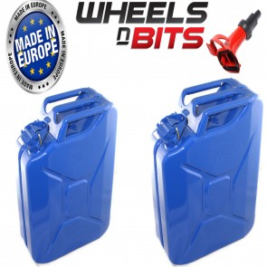 2 x NEW HIGH QUALITY METAL POWER COATED BLUE JERRY CAN 20L LITRE WITH SPOUT