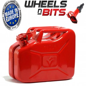 Wheels N Bits RED 10L Litre Jerry Military Can Fuel Oil Water Kerosene Water With Spout