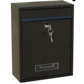 NEW Lockable Black Steel Letterbox Mailbox Post Box Outdoor Wall Postbox 2 keys