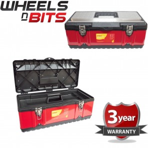"""HEAVY DUTY 23"""" STAINLESS STEEL TOOL BOX CHEST BAG STORAGE & REMOVABLE TRAY"""