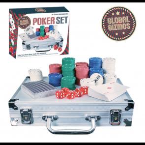 200pc Texas Hold'Em Poker Chip Set 2 Decks Playing Cards 5 Dice Aluminium Case