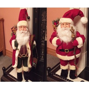 Delux Father Christmas Santa Claus Standing Figure Xmas Decoration Ornament 70cm