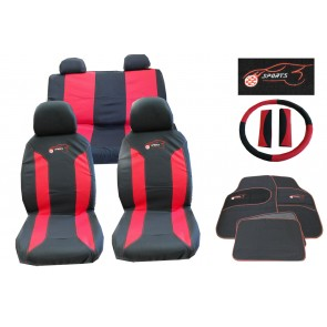 Universal Car Seat Cover Set 15 Pieces Red Black Washable & Styling Pack Ks8105