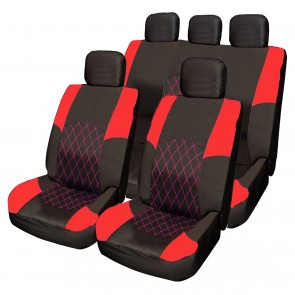 Wheels N Bits RED & BLACK Cloth Seat Cover Full Set Steering Glove Shoulder Pads