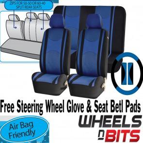 Blue Mesh Cloth Car Seat Cover Steering Glove fit Renualt Clio Twingo Megane