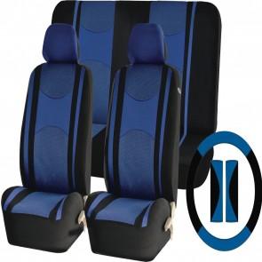 Blue Mesh Cloth Car Seat Cover Steering Glove fit Ford Fiesta Focus Kuga KA Puma