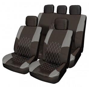 Jaguar X-Type S-Type GREY & BLACK Cloth Car Seat Cover Full Set Split Rear Seat
