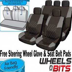 Suzuki Baleno Grand GREY & BLACK Cloth Car Seat Cover Full Set Split Rear Seat