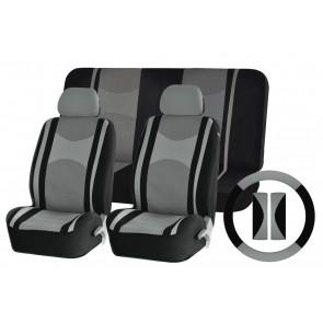 Grey Mesh Cloth Car Seat Cover Steering Glove fit Nissan Micra Juke  QASHQAI