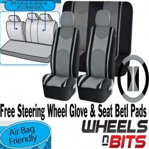 Grey Mesh Cloth Car Seat Cover Steering Glove fit Skoda Rapid Yeti Octavia