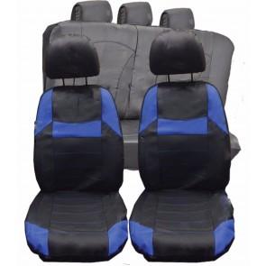 Mitsubishi Outlander UNIVERSAL BLACK & Blue PVC Leather Look Car Seat Covers Set