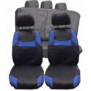 Mitsubishi Clot FTO UNIVERSAL BLACK & Blue PVC Leather Look Car Seat Covers Set