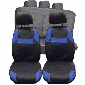 Alfa Romeo Spider UNIVERSAL BLACK & Blue PVC Leather Look Car Seat Covers