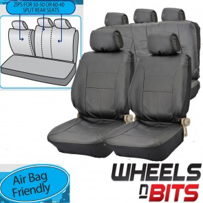 UNIVERSAL BLACK PVC Leather Look Car Seat Covers Rears fits VW Golf MK3,4,5,6,7