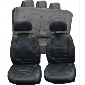 Mitsubishi Carisma UNIVERSAL BLACK PVC Leather Look Car Seat Covers Split Rears