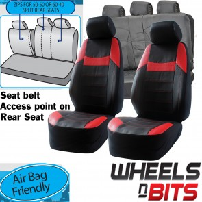 Ford Mondeo Focus KA UNIVERSAL BLACK & RED PVC Leather Look Car Seat Covers Set