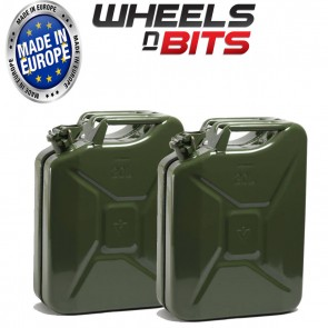 2 x NEW HIGH QUALITY METAL POWER COATED INSIDE AN OUT GREEN JERRY CAN 20L LITRE