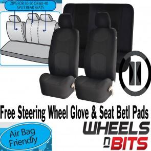 Full set Black Mesh Cloth Car Seat Cover Steering Glove fit Jaguar S-Type XF