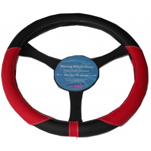 Leather Faux Steering Wheel Glove Cover Red & Black to fit BMW & Mini