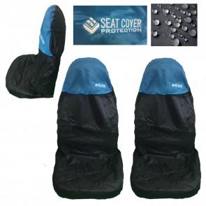 Wheels N Bits 2 Universal Car Seat Cover Waterproofed Nylon Blue Black Fits A4 A6 A5 Q2 Q3 Q5