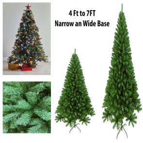 J-Living Christmas Tree Artificial 4Ft 5Ft 6Ft 7Ft Spruce Pine with Stand Xmas PVC Green