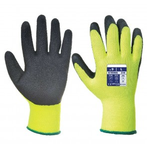 Portwest Winter Thermal Work Gloves Latex Grip Building Farming Workman Industrial Glove