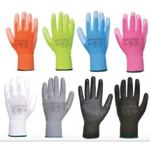 Portwest A120 Nylon PU Palm Coated Work Wear Gardening Gloves Machinc Snug Fit