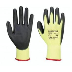 Port West 12x HI VIs Nylon PU Palm Coated Work Gardening Gloves Mechanic Snug Fit Workman